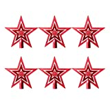 Amosfun 6pcs Glitter Star Christmas Tree Topper Plastic Hollow Star Treetop for Christmas Tree Ornaments Holiday Party Decoration Supplies 14cm (Red)
