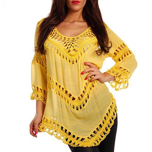 Camiseta de mujer de ganchillo con patrón de agujeros. amarillo 38-40