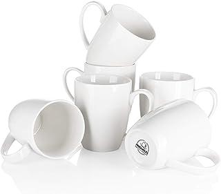 Mugaholics Porcelain Coffee Mug Set - 17oz for Coffee, Tea, Cocoa - Set of 6, White M-606