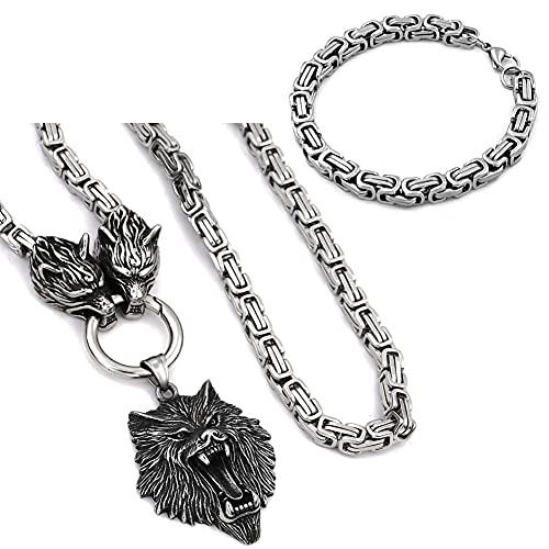 Brazalete De Cadena King De Acero Inoxidable Collar De Cabeza De Lobo Mitología Nórdica De Odin Joyas Vikingas,Wolf Head,70cm