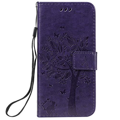 LODROC Nokia 4.2 Hülle, TPU Lederhülle Magnetische Schutzhülle [Kartenfach] [Standfunktion], Stoßfeste Tasche Kompatibel für Nokia4.2 - LOKT0101958 Violett