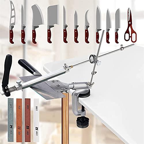 SEAAN Afilador de cuchillos manual profesional con 4 muelas (120#, 320#, 600#, 1500#), afilador de cuchillos de ángulo fijo con rotación Pro RX-008, juego de herramientas de afilado de cocina