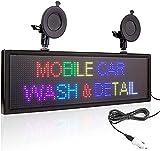 TEPET Full led Scroll Scroll Car WiFi Programable Scroll Message Display Board Letrero con 2 ventosas Pantallas de segmento LED