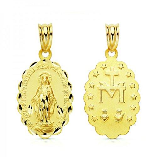 Medalla Virgen Milagrosa Oro Ley 18 Ktes. 24mm