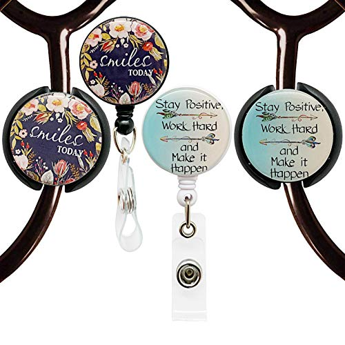 Badge Reels Retractable for Nurses and Stethoscope ID Tag Set,Cute Badge Holder with 360° Swivel Alligator Clip,Nursing Retractable Name Card ID Badge Holder,Gift for Nurse and Medical Worker,Set of 4