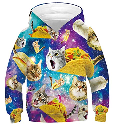 Pizza Cat Hoodies for Teen Boys Yellow Long Sleeve Hoodys with Big Pocket Funny Galaxy Taco Cat Patterns Hooded Pullover Youth Crewneck Athletic Sweatshirts Unisex Fancy Design Shirts, Taco Cat 14-16