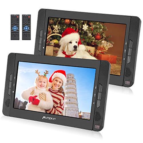 PUMPKIN Lettore DVD portatile per bambini, poggiatesta con doppio schermo da 10.1 pollici con supporto, circa 5 ore di durata, supporto USB/SD/MMC/region free, 18 mesi di garanzia