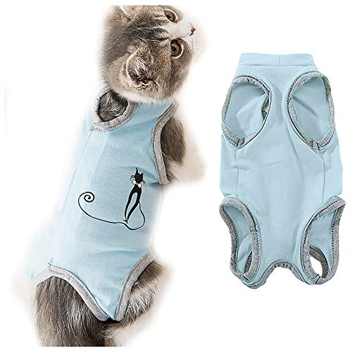 Hmpet Katzen Recovery Suit, Soft Wear Coat E-Collar Alternative Bauchwunden oder...