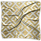 Multi-Colors Design Square Satin Womens Neck Head Bufanda Bufandas Geometric Gold Bars Impreso