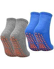 NATUCE 2 paar Womens Mens Non-slip Grip Sokken ABS Sport Sokken voor Yoga Pilates Barre Trampoline Fitness Vechtsporten Ziekenhuis Thuis Wandelsokken met Grips (blauw/grijs)