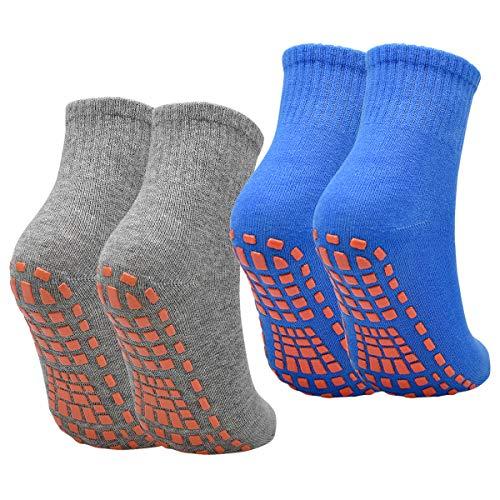 NATUCE Calcetines Deporte 2 Pares Calcetines Antideslizantes para Hombre Mujer Algodón Transpirable Calcetines Deportivos para Pilates Yoga Fitness Gimnasia (Gris/Azules, S/M (EU 36-40))
