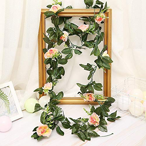 Yqs Artificial Flowers 2.5m/Artificial Flower Silk Flowers Rose Leaf Garland Vine Ivy Wedding Flower Garden Halloween Christmas Flowers Deoration (Color : 11 Roses Champagne)