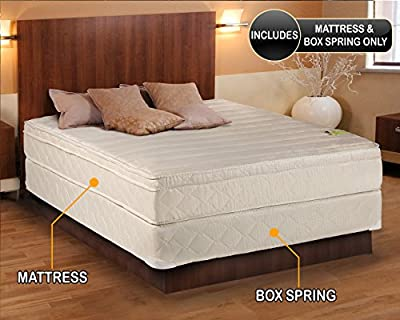 Comfort Pedic Firm Pillow Top (Eurotop) Mattress & Box Spring - Sleep System with Enhance Foam Encased Support- Fully Assembled, Plush Knit Cover, Great for your Back - By Dream Solutions USA