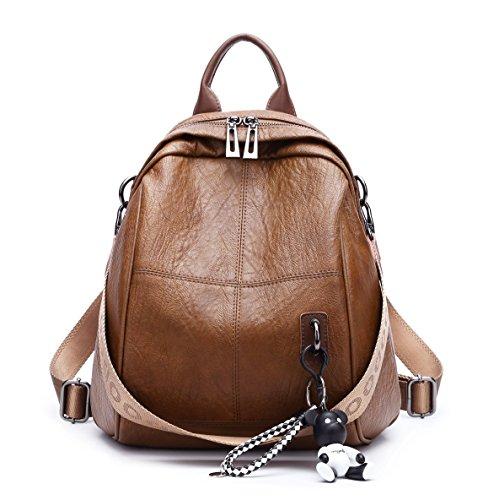 DEERWORD Damen Rucksackhandtaschen Schultertaschen Schulrucksack Tagesrucksack Laptoptasche Leder Braun
