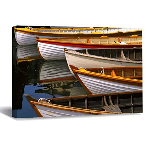 Bright Colored Boats at The Wooden Boat Center Canvas Picture Painting Artwork Wall Art Poto Framed Canvas Prints for Bedroom Living Room Home Decoration, Ready to Hanging 8'x12'