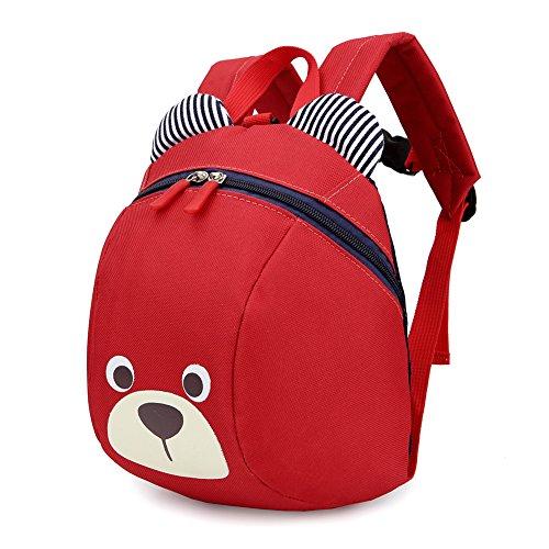 Luerme Kinderrucksack Kleinkind Jungen Mädchen Kindergartentasche Niedlich Cartoon Bär Backpack Schultasche Rucksack, Rot