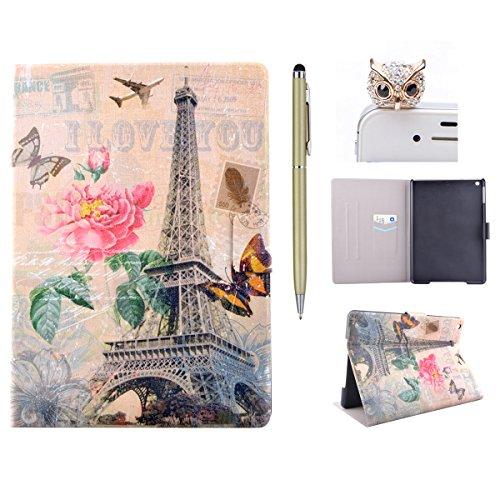 Felfy iPad Air Schutzhülle Ultra Slim Flip Leather Case für Apple iPad Air iPad 5 Tablet Leder Hülle Etui Cover Handytasche Rose Blume Turm Muster