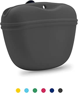 AUDWUD- Silicone Dog Treat Pouch - Clip on Portable Training Container – Convenient Magnetic Buckle Closing and Waist Clip - 100% FDA Certified Food Grade Silicone & BPA Free