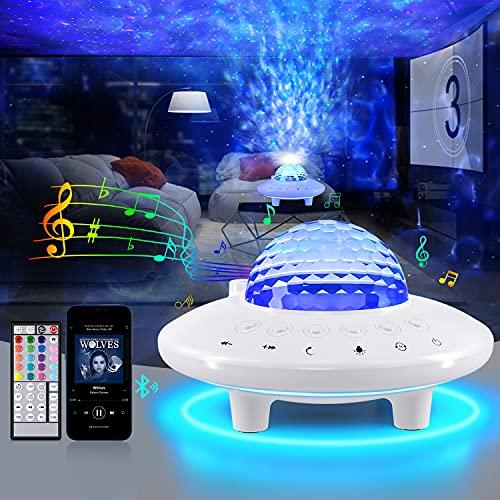 Proyector Estrellas 3 en 1 LED de Luz Nocturna Brillo Ajustable con Altavoz Bluetooth, Control Remoto, Temporizador, Luz de Noche para Niños Decoración de Dormitorio para Niño Adulto
