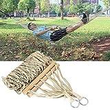 Hamaca simple de cuerda de algodón tejida, cama de malla para dormir con hamaca de cuerda blanda, red de hamaca portátil y fácil de configurar con bolsa para dormitorio en el patio trasero