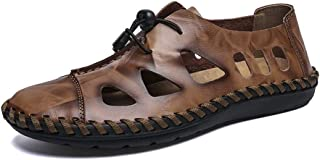 Sumuzhe Stylish and comfortable Men's Fashion Sandal Casual OX Leather With Breathable Holes Closed Head Lacing up Decoration Big Size Leisure Shoes Summer must (Color : Brown, Size : 48 EU)