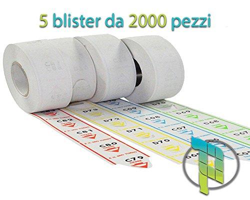 Palucart® eliminacode rotoli biglietti turno - 10.000 Tickets a strappo per sistemi eliminacode colore BLU o VERDE