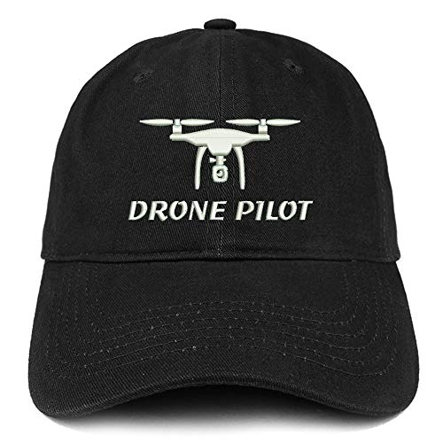 Trendy Apparel Shop Drone Pilot Embroidered Soft Crown 100% Brushed Cotton Cap - Black