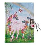 Diario infantil con unicornio mágico y purpurina de Lucy Locket - Diario con candado y llaves