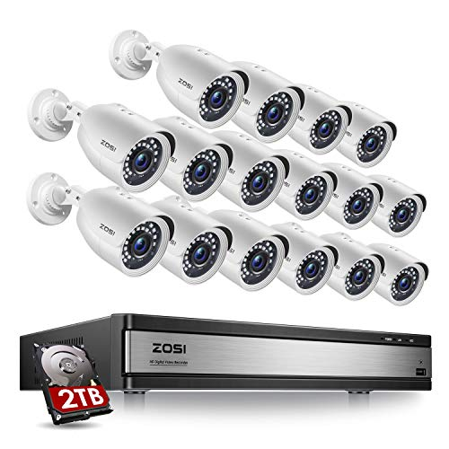 ZOSI H.265+ 1080p 16 Channel Security Camera System, 16 Channel DVR Recorder with Hard Drive 2TB and 16 x 1080p Weatherproof CCTV Bullet Camera Outdoor Indoor with 80ft Night Vision, Motion Alerts