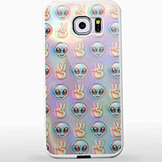 Alien Emoji Peace Background for Iphone and Samsung Galaxy Case (Samsung S6 White)