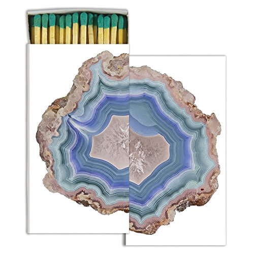 HomArt Large Decorative Blue Agate Candle and Fireplace Wood Matches