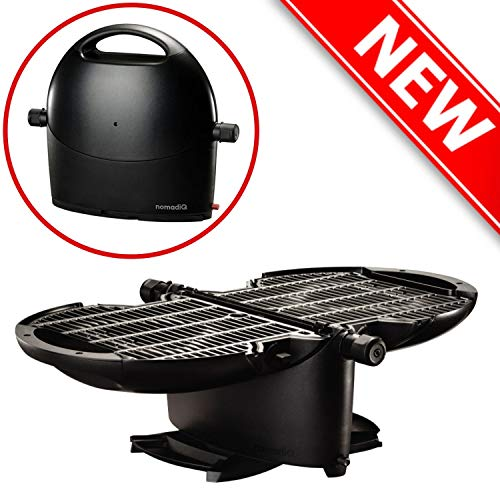 NOMADIQ Portable Propane Gas Grill | Perfect for Outdoor Cooking, Camping, Tailgate, RV, Roadtrip | 2 Burner Tabletop BBQ | Small and Lightweight Grills Propane