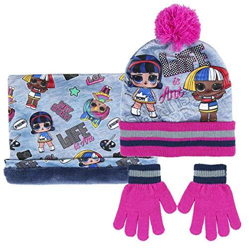 CERDÁ LIFE'S LITTLE MOMENTS Baby-Mädchen 2200005862 LOL Hut, Schal und Handschuhe Set, Rosa Y Azul, Nur