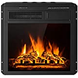 Tangkula 18 Inch Electric Fireplace Insert, Freestanding & Recessed Electric Fireplace Heater with Remote Control, Adjustable Heater, 7 Log Hearth Flame Settings, Indoor Electric Stove Heater (18')