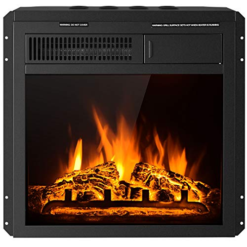 Tangkula 18 Inch Electric Fireplace Insert, Freestanding & Recessed Electric Fireplace Heater with Remote Control, Adjustable Heater, 7 Log Hearth Flame Settings, Indoor Electric Stove Heater (18)