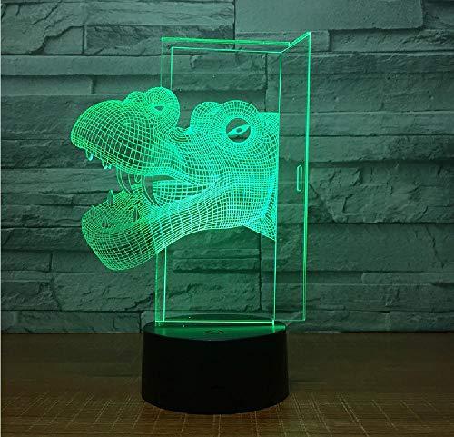 7 colores cambio gradual cabeza de dinosaurio linda pequeña lámpara de la noche decoración de la cabina usb led niños lámpara decoraciones de cumpleaños lámpara led 3d