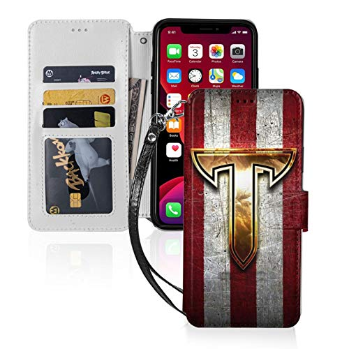 Troy-Trojans-Golden-Red iPhone 11 Wallet Case with Card Holder PU Leather Detachable Wrist Strap Designed for iPhone 11-6.1 Shockproof Magnetic TPU Phone Cover