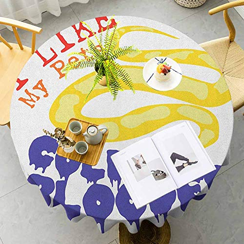 "Reptile Picnic Table Cloth Majestic Snake Says The Wild Truth Pet Lover Best Friend Illustration Print Polyester Spill-Proof Water Repellent for Dining Room and Party, 70"" RoundPurple Yellow Red"