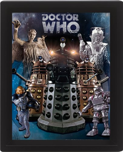 Doctor Who Aliens - Póster lenticular 3D (10 x 8 cm, con marco)