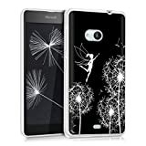kwmobile Microsoft Lumia 535 Hülle - Handyhülle für Microsoft Lumia 535 - Handy Case in Pusteblume Elfen Design Weiß Schwarz