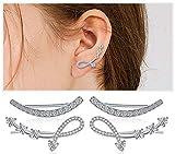 Plata de ley con zirconia cúbica Ear Climber - Puños hipoalergénicos Ear Crystal Crawler Cuff Pendientes Set para mujeres niñas