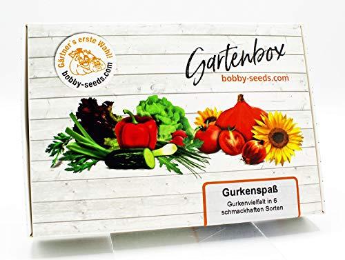 Gurkenspaß Samen Set von bobby-seeds, 6 Sorten Gurkensamen als Set in repräsentativer Gartenbox, Samen-Set mit 6 Sorten und praktischen Stecketiketten