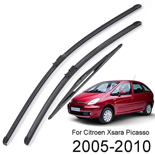 Xukey Front- und Heckscheibenwischerblätter-Set für Xsara Picasso 2005 2006 2007 2008 2009 2010 (3 Stück)