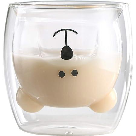 Tasse à café Ours tasses à thé Tasse à verres isolés à double paroi Tasses à lait de thé animal mignon Cadeau original pour les amis de Thanksgiving de Noël (Transparent)