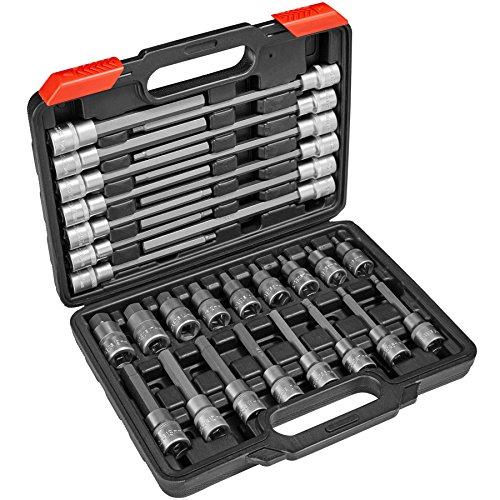 TecTake Innen Inbus Steckschlüsselsatz | Aus Chrom-Vadium-Stahl - diverse Modelle - (Typ 3 | 30-tlg | Nr. 402693)