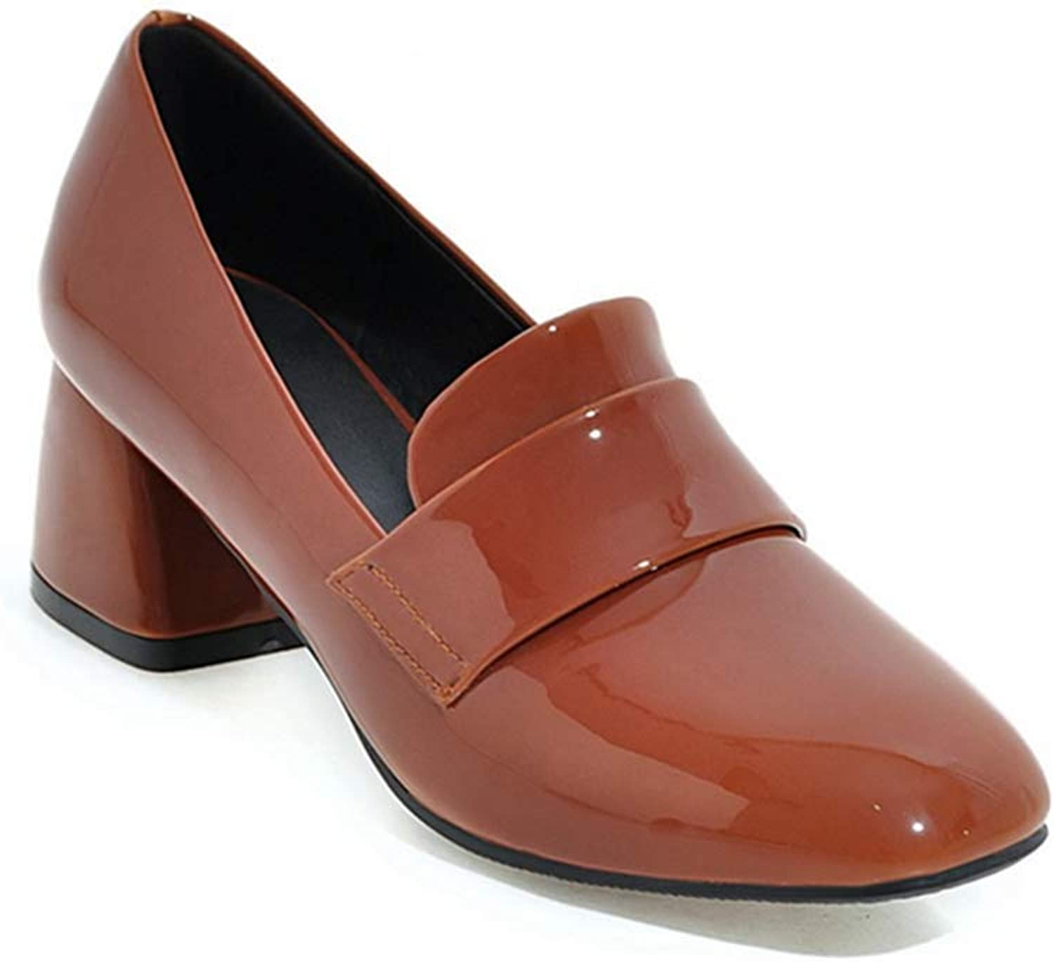 Beautiful - Fashion Women's Square Toe Penny Loafer Pump Patent Leather Platform Mid Heel Dress Oxfords Pumps shoes