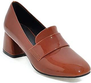 Veveca Women Pump Patent Leather Platform Mid Heel Dress Oxfords Pumps Shoes Square Toe Penny Loafer