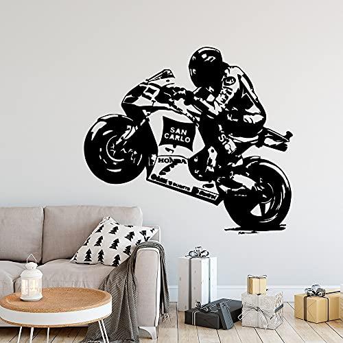 Pegatinas de pared artísticas extraíbles de motocicleta de dibujos animados para decoración de dormitorio calcomanías murales autoadhesivas a prueba de agua A9 57x63cm