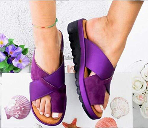 JFFFFWI Sandalias cómodas para Mujer Zapatos correctores de juanetes Plataforma de Cuero...