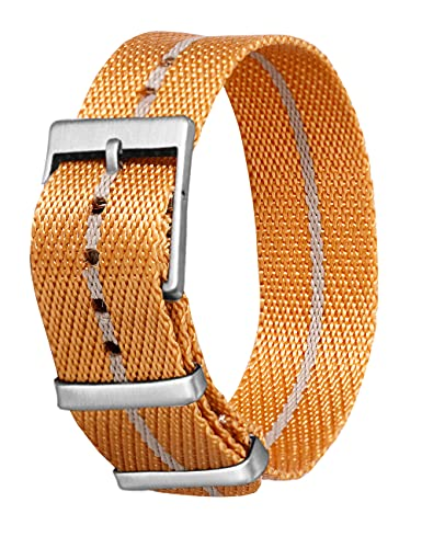 BRONGER 22mm 20mm Multi-color Twill Slip-thru Nylon Watch Strap with Stripe Laser Cut Adjustable Seat Belt Watch Band with Slight Brushed Luster on Stainless Steel Buckle for Women or Men(Orange-grey)